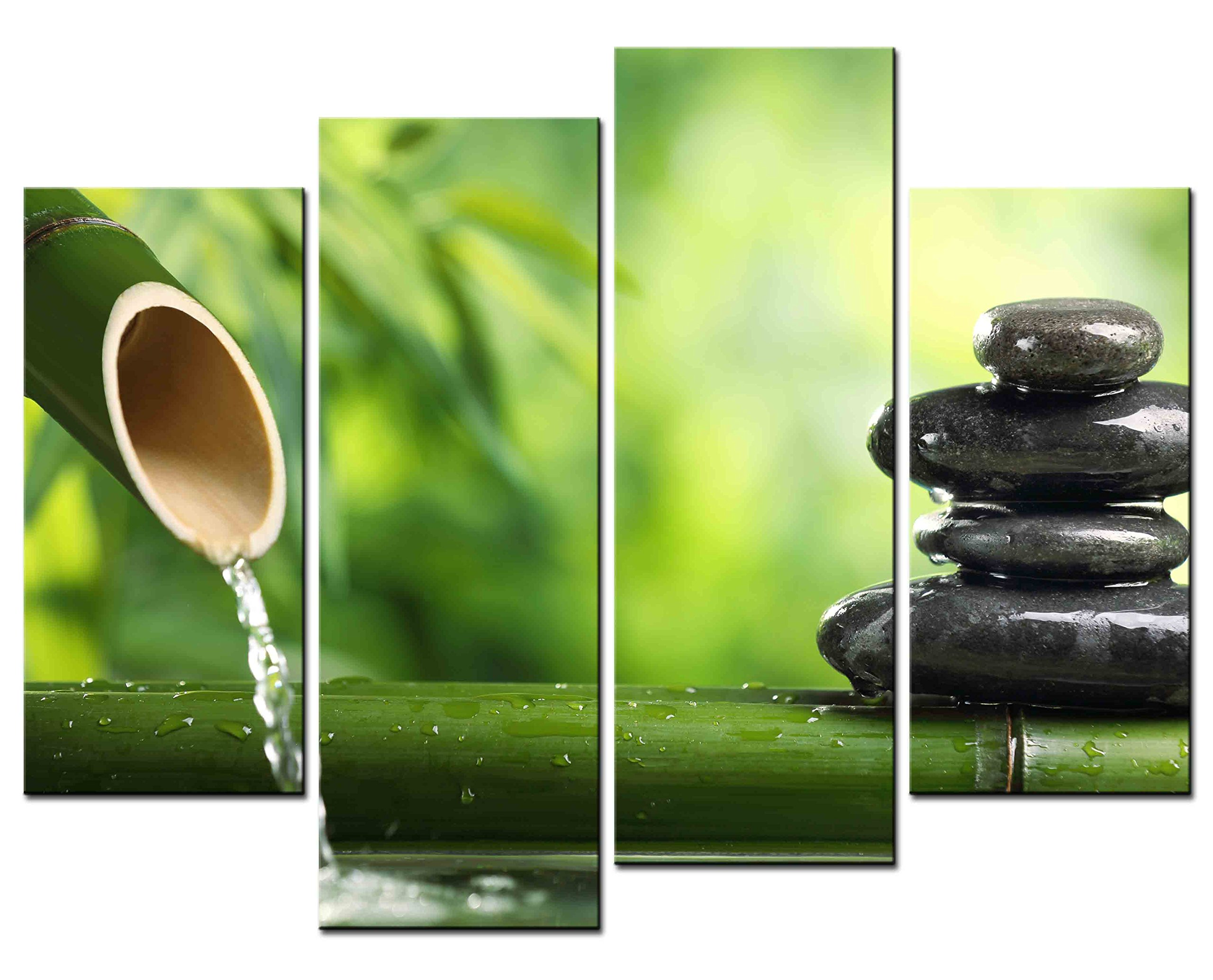 SmartWallArt - Spa Paintings Prints on Canvas Water Flow from Green Bamboo Tube to Spa Stones Picture for Modern Home Decoration 4 piece Wall Art Ready to Hang