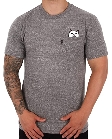3fb2c7a14 Rip'n'Dip RIPNDIP Lord Nermal Pocket T-Shirt - Heather Grey: Amazon.co.uk:  Clothing