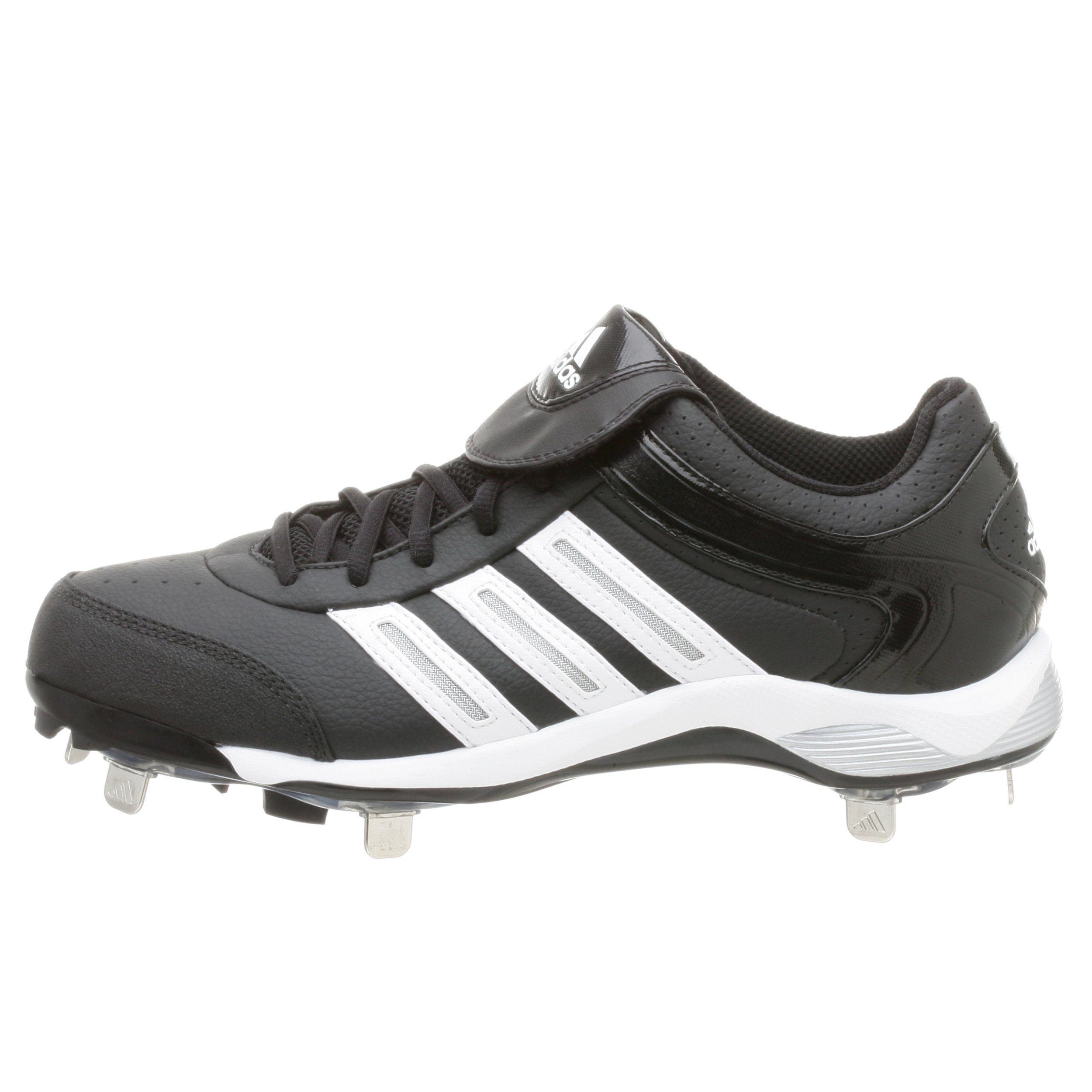 adidas Men's Diamond King Low Baseball Shoe,Blk/Runwht/Metsil,9.5 M by adidas (Image #6)