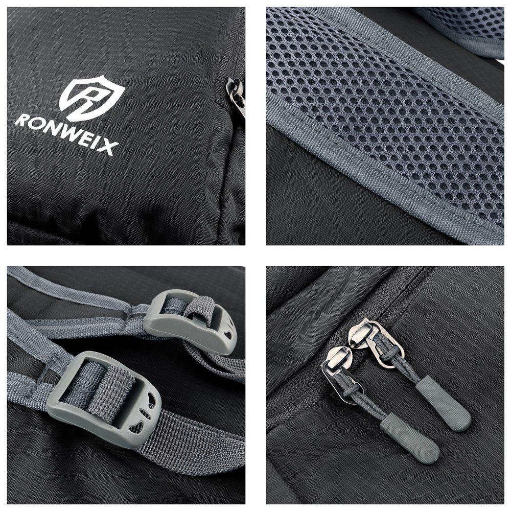 Ronweix 35L Lightweight Packable Durable Travel Hiking Backpack Daypack (Black)