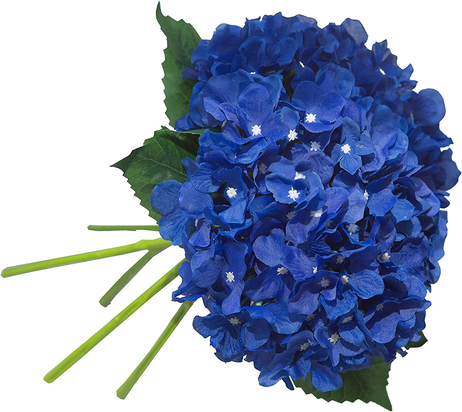 UnikLove 5 Pack Royal Blue Artificial Hydrangea Flowers Stem Fake Silk Hydrangea with Leaves for Wedding Arrangement Home Garden Decor