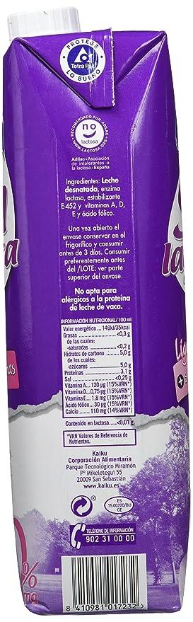 Kaiku - Leche Sin Lactosa Desnatada - 1 L: Amazon.es: Alimentación y bebidas