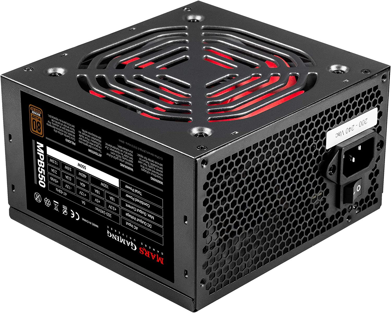 80Plus 230V Bronze 90/% SilentRPM 10dB Mars Gaming MPB550 Fuente PC 550W ATX