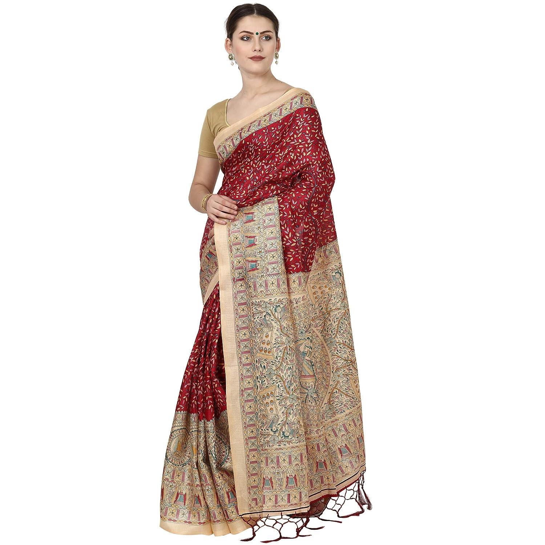 b28e3b606 Voila Printed Khadi Jute Art Silk Saree (Multicolor)  Amazon.in  Clothing    Accessories