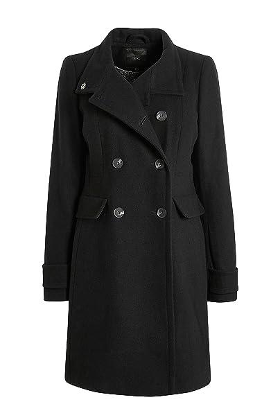 next Mujer Abrigo Cuello Chimenea Negro EU 48 (UK 20)
