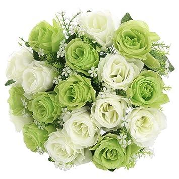 Fleurs Artificielles Roses de Mélange de Couleurs Blanc et Vert SOLEDI 18  Têtes Fleurs Mélangés pour Bouquet De Mariée Mariage Salon Table Maison ...