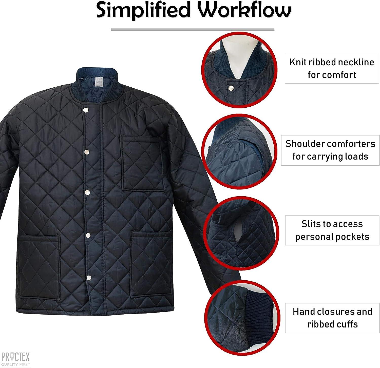 Mens PROCTEX Navy Short Freezer Jacket L Zipper Snap Water Resistant