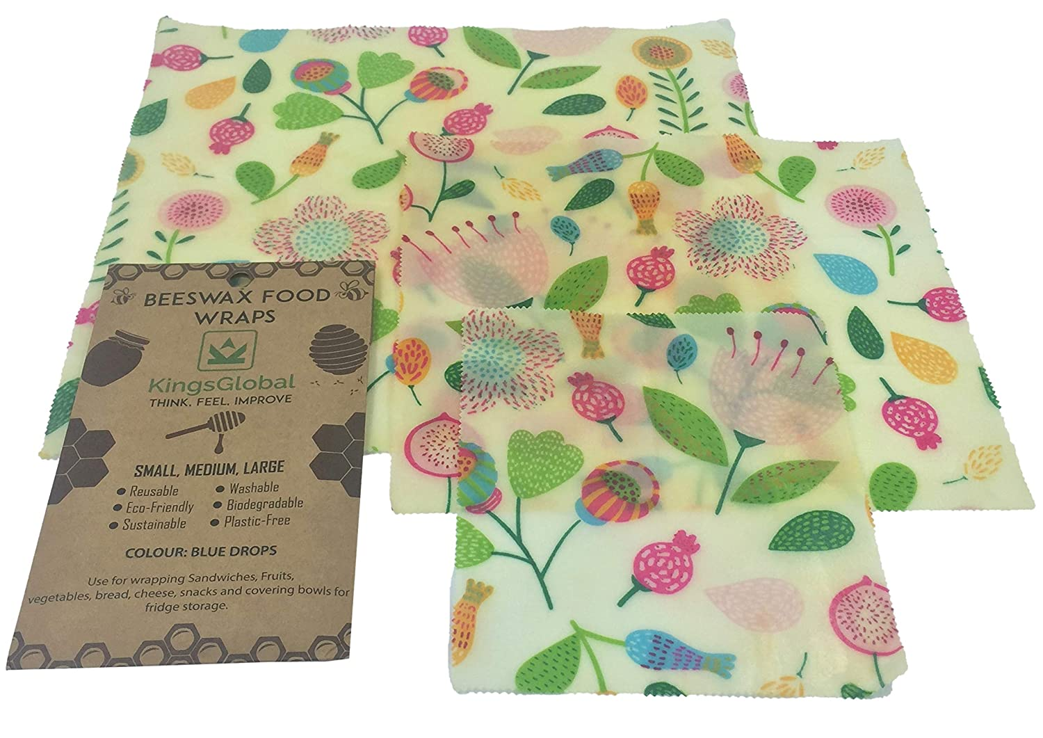 Reusable Beeswax Food Wrap Eco Friendly (Set of 3) sustainable organic biodegradable cotton sheets bees wax wraps | Great safe storage keeps produce fresh | Sandwich wrap | Plastic Free zero waste
