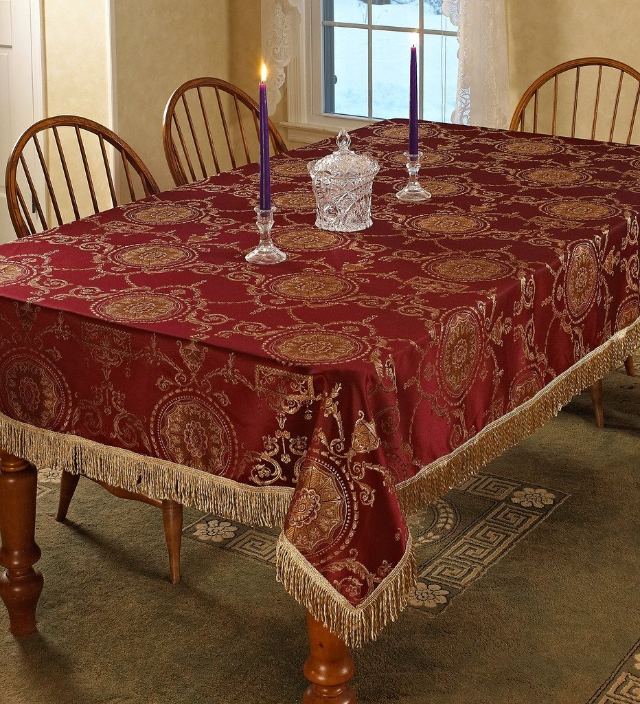 "Violet Linen Prestige Damask Design Oblong/Rectangle Tablecloth, 60"" x 120"", Burgundy"