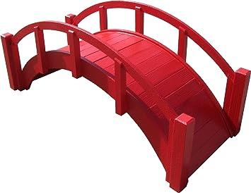 Samsgazebos Miniatur Japanischer Garten Holz Brücke, 74 Cm, Rot