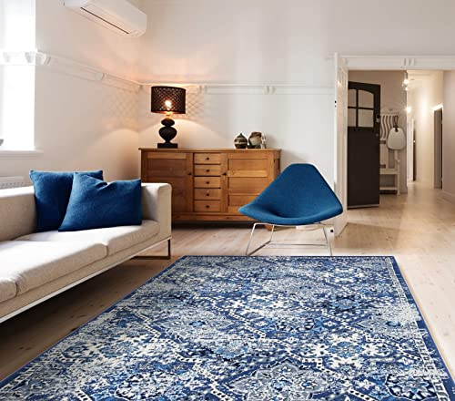 PRIYATE Colorado Collection – Moroccan Vintage Pattern Polypropylene, Durable, Soft, Water Repellent, Pet Friendly Area Rug for Bedroom, Dining Room, Living Room and More Mid Blue 7 10 X 10