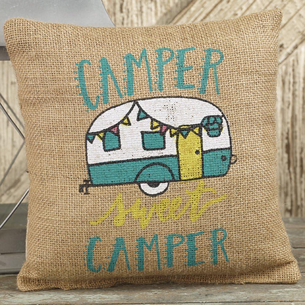 Camper Sweet Camper Mini Burlap Pillow