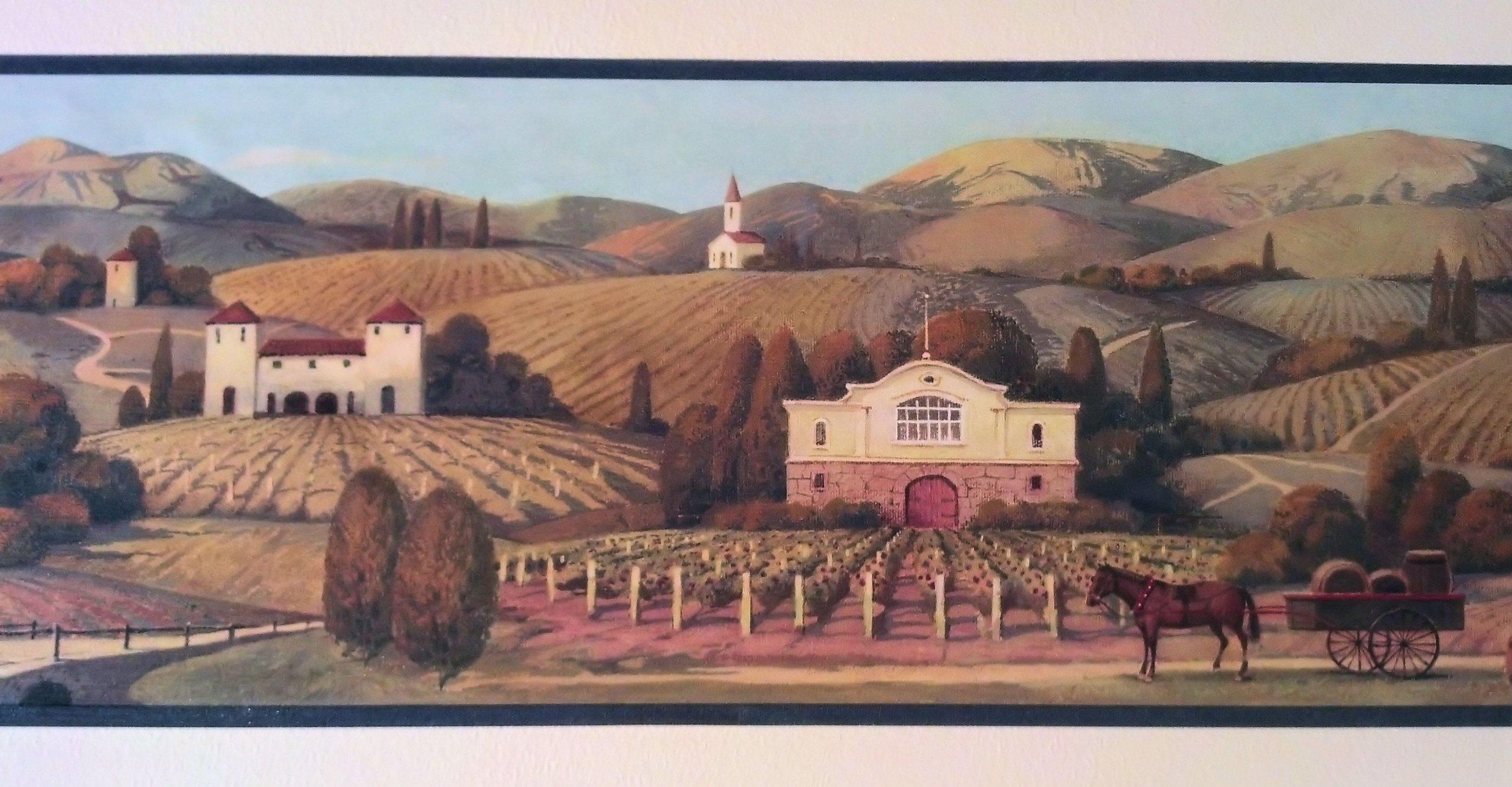 Wine, Vineyard Winery Grapes Wallpaper Border