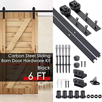 6 FT Sliding Barn Door Hardware Kit Black with Track Rollers and Hardware