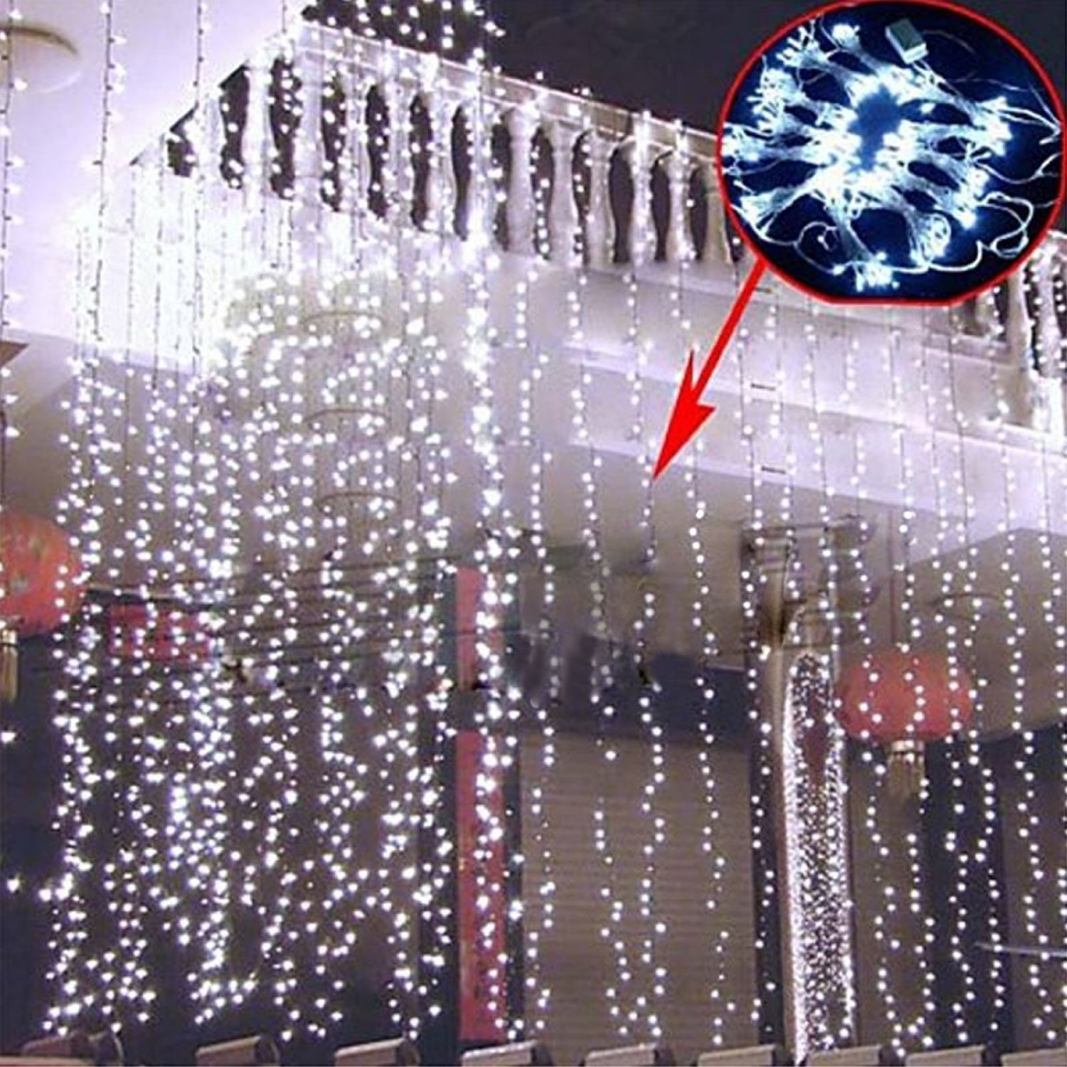Curtain Lights, Image 224 LED 117.6 in 79.2 in LED Lights String Fairy String Lights for Garden/Wedding/Party/Window/Home Decorative - Pure White by Unknown (Image #9)