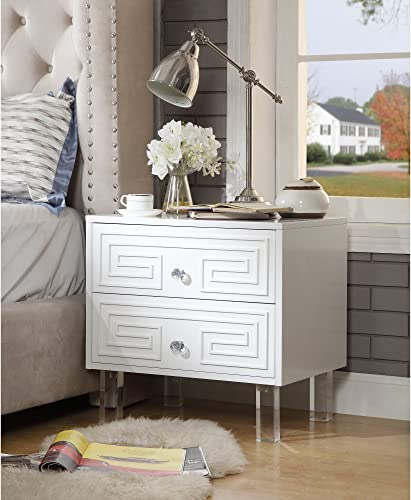 Aristotle White Glossy Nightstand – Lacquer Finish Side Table Acrylic Lucite Legs Inspired Home