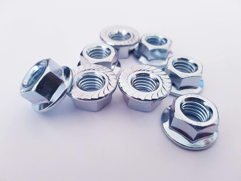 Lot de 20 /écrous /à bride dentel/ée M10 Plaqu/é zinc