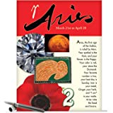 J9442 Aries Astrological Sign Birthday Card - Famous People, Moto, Personality, Stone, Symbol, Planet, Color, Flowers and Dates (Extra Large 8.5'' x 11'' w/ Envelope)