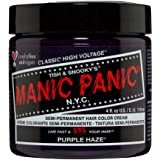 Manic Panic Purple Haze Hair Dye - Classic High Voltage - Semi Permanent Hair Color - Warm, Dark Purple Shade - For Dark…