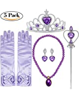 Tacobear Princess Dress up Accessories 5 Pieces Gift Set for Sofia Crown Scepter Necklace Earrings Gloves Lavander Purple (Lavander Purple)