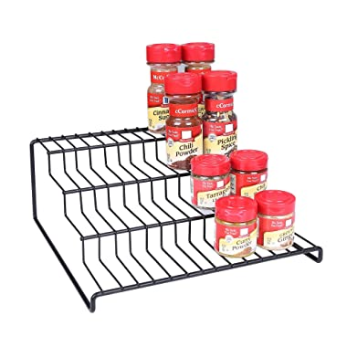 4 Tier Cabinet Spice Rack Organizer GONGSHI-Step Shelf Storage-Black