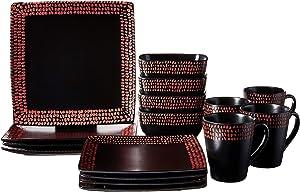 American Atelier 6956-16-RB Rowen 16 Piece Square Dinnerware Set, 11 x 11