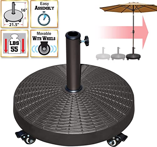 BenefitUSA Resin Patio Umbrella Base Weight Stand Deck Parasol w Wheels ONLY Base