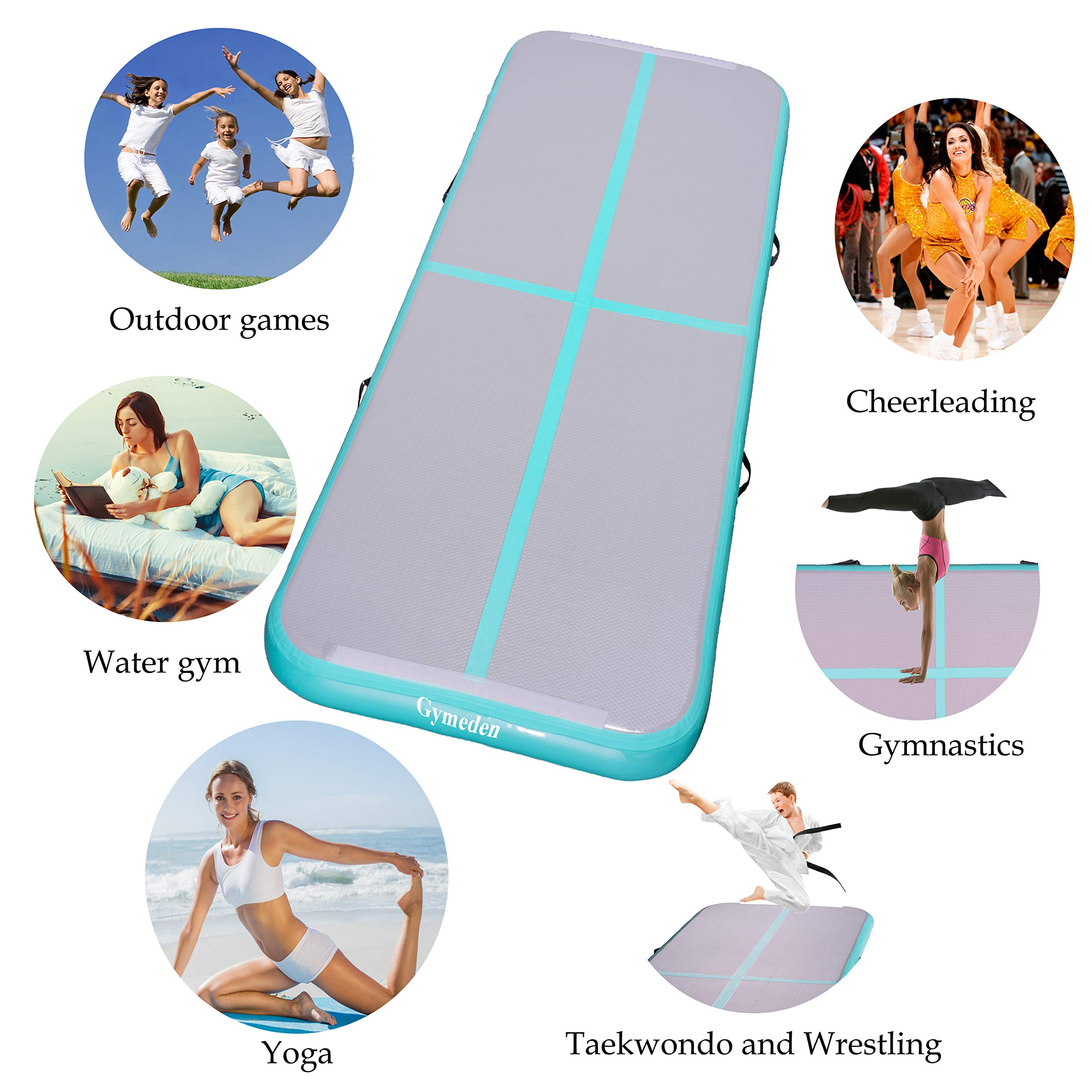 Gymeden Multi-Function extensible Airtrack Tumbling mat Kid Gymnastics mat Inflatable Gymnastics air Track air Tumble Track for Gymnastics Gym mats for Kids Taekwondo Dancing,Parkour,Yoga,Tumbling by Gymeden (Image #2)