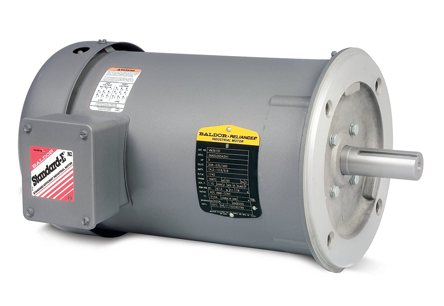 BALDOR VM3537 General Purpose Motor, 3-Phase.5 HP at 60 Hz, Totally Enclosed, C-Face, Footless, 3450 RPM, 56C, 3410M, TEFC, F1, 230/460V, Steel