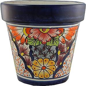 Mexican Talavera Planter Ceramic Flower Pot Folk Art Pottery Garden Handmade # 29