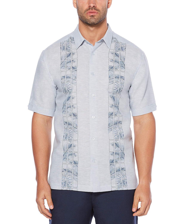 Cubavera Mens Short Sleeve Linen-Blend Shirt with Embroidered Print Panels