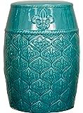Spear Ceramic Garden Stool,Turquoise Green,Fully Assembled