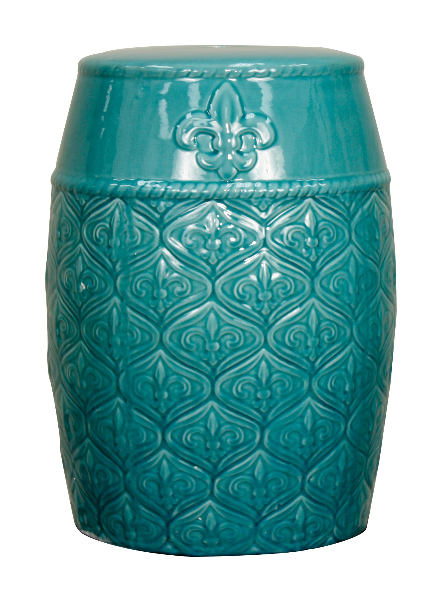 New Pacific Direct Spear Ceramic Garden Stool,Turquoise Green,Fully Assembled