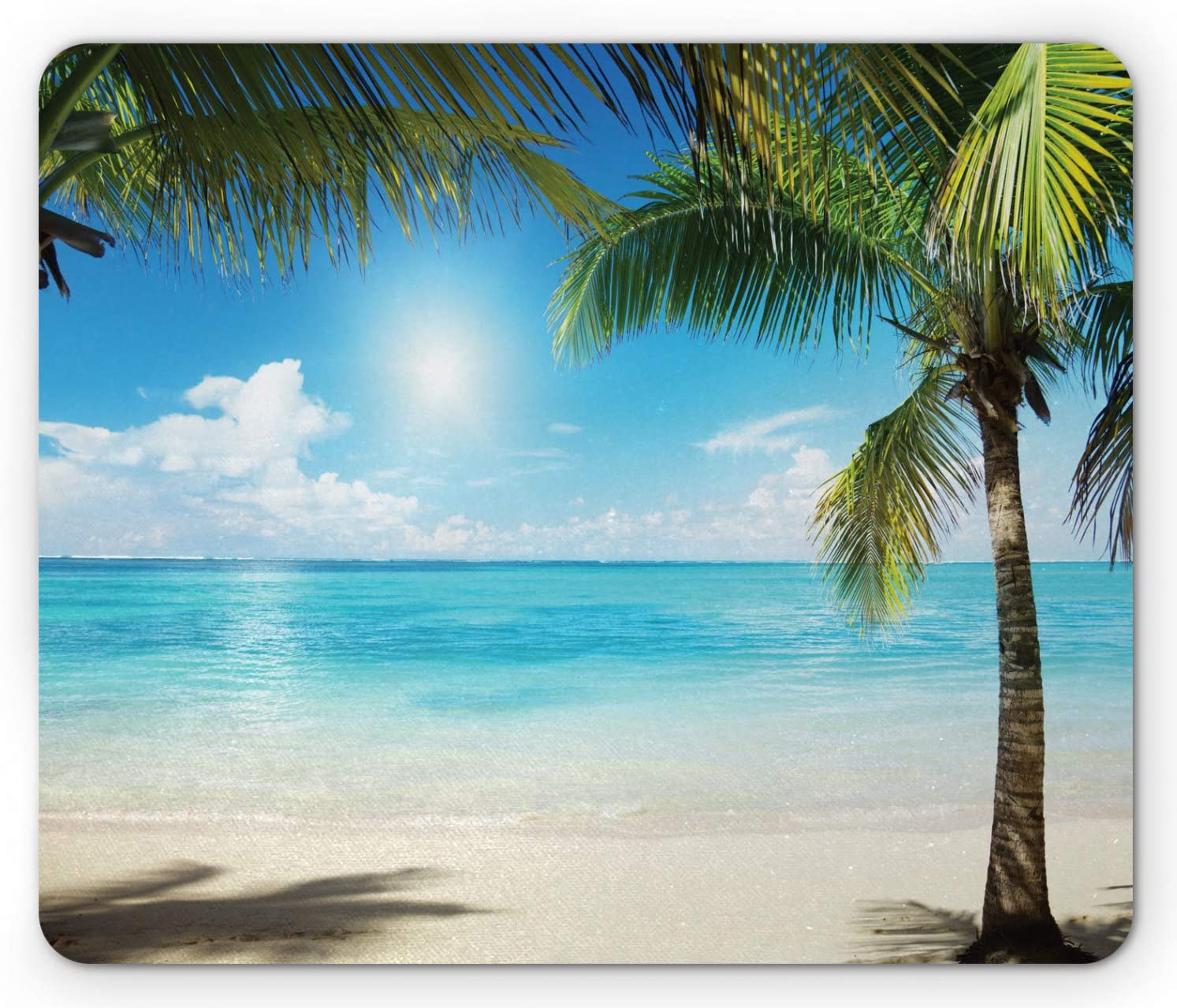 Ambesonne Tropical Beach Mouse Pad, Coconut Palm Trees Shadows on Caribbean Shore Summer Plants Idyllic, Rectangle Non-Slip Rubber Mousepad, Standard Size, Coconut Green