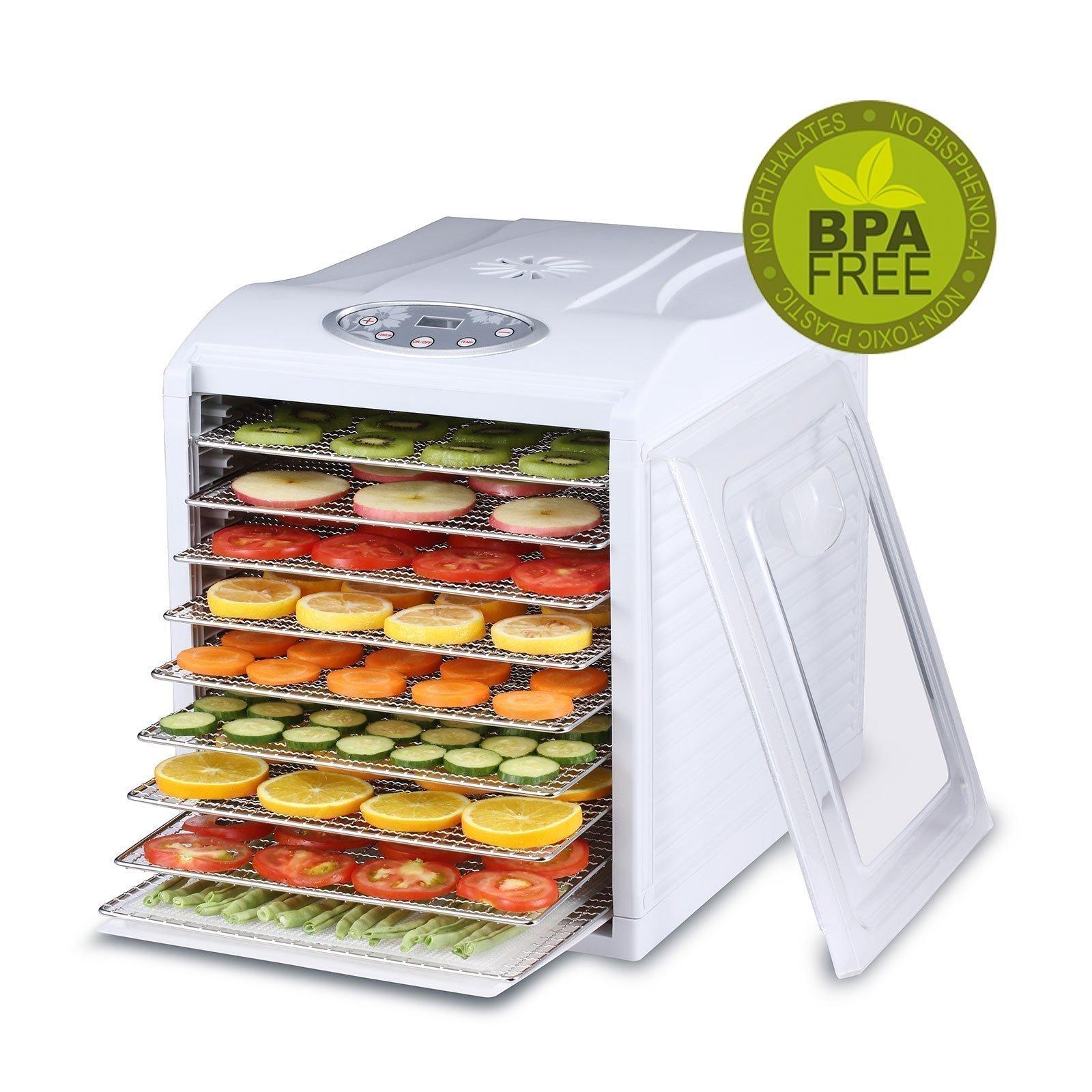BioChef Arizona Sol Food Dehydrator 9 x BPA FREE Stainless Steel Drying Trays & Digital Timer - Includes: 3 x Non Stick & 3 x Fine Mesh Sheet & Drip Tray. Best Drier for Raw Food, Fruit, Jerky (White)
