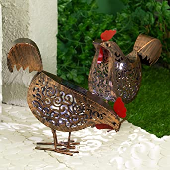 Smart Solar Powered Metal Scroll Hens Garden 2 Pack Outdoor Ornamental LED Light
