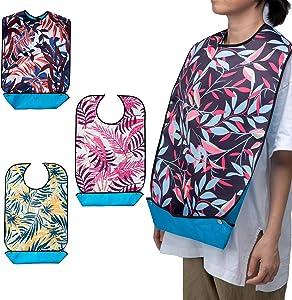 "Mikako【3pack】Adult Bib for Eating,Washable Reusable Waterproof,with Pocket,Adjustable Snap Closure,Bibs for Seniors for Eating at Mealtime,33""L 18""W,(Leaf Design 2)"