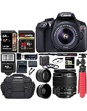 Canon EOS Rebel T6 Digital SLR Camera Kit with EF-S 18-55mm f/3.5 Lens, Lexar 64GB and Ritz Gear U3 32GB Memory Cards, Lens Filters, Camera Bag, Flexi-Tripod, and Accessory Bundle