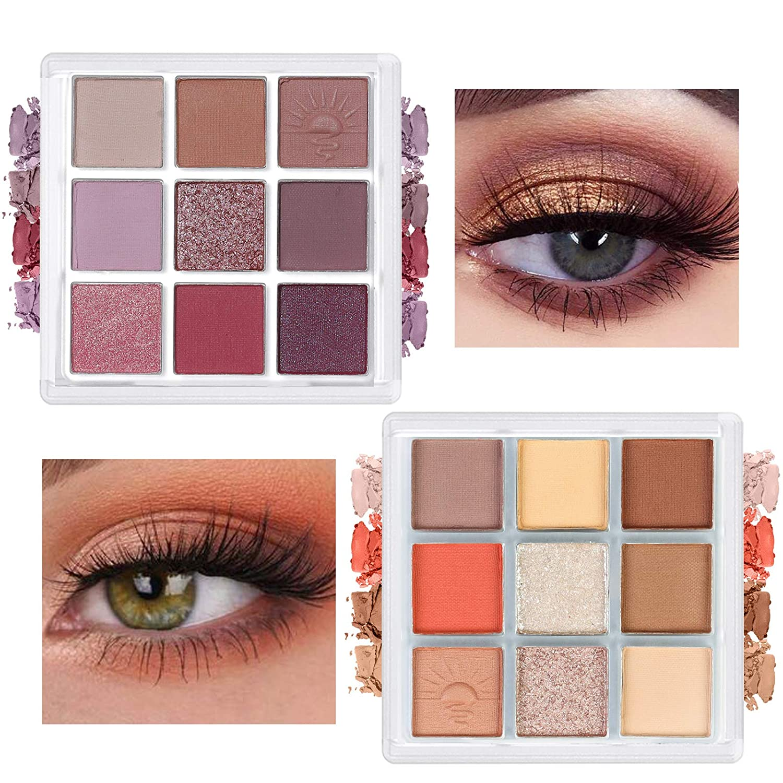 Eyeshadow Palette, 2 Palettes Matte Shimmer Eyeshadows High Pigmented Colorful Eye Shadow Powder Easy To Blend Long Lasting Waterproof Makeup Pallet