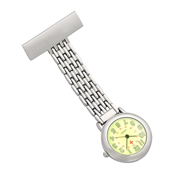 ShoppeWatch Nurses Lapel Pin Watch 24hr Military Time Analog Infection Control FOB Green Dial NW-