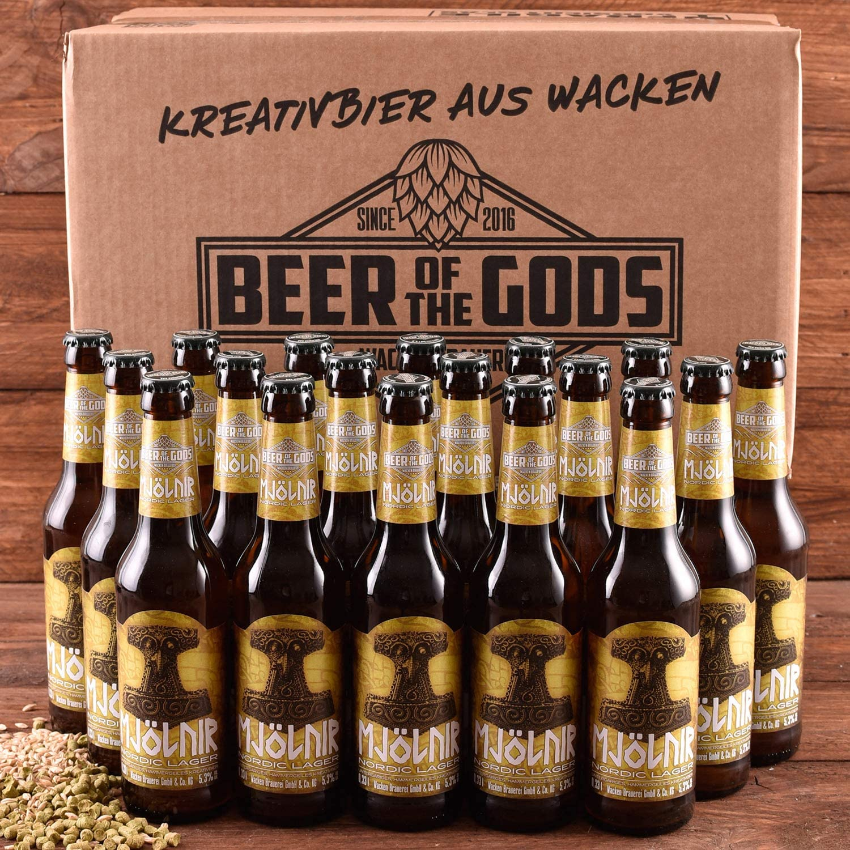 Wacken Brauerei Mjölnir - Pack de cervezas caseras - 18 botellas de 0,33 l de cerveza pils lager nórdica con el martillo de Thor - La cerveza de los dioses