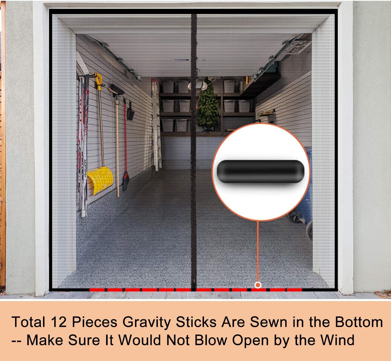 Garage Door Screen for 1 Car Garage with Zipper 8 x 7 FT Durable Heavy Duty Fiberglass Mesh Enjoy Breeze Bottom Weighted Cover Net for Single Garage Car Door Patio Workshop