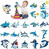 Shark Temporary Tattoos(100pcs),Konsait Shark Tattoo Body Stickers Costume Accessories for Ocean Sea Shark Themed Baby…