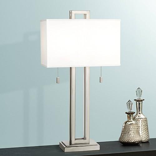 Modern Table Lamp Brushed Nickel Open Rectangle White Shade for Living Room Family Bedroom Bedside Nightstand – Possini Euro Design
