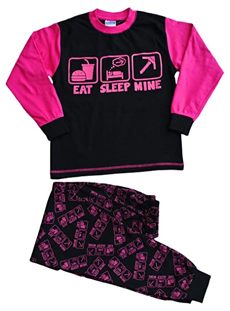 Niñas Eat Sleep Mine pijama All Over Print 7 a 14 años, color rosa