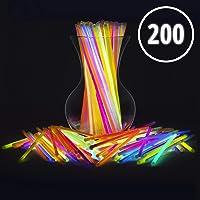 "Glow Sticks Bulk Party Favors 200pk - 8"" Glow in The Dark Party Supplies Light Sticks, Halloween, Camping, Glow Necklaces Bracelets Kids"