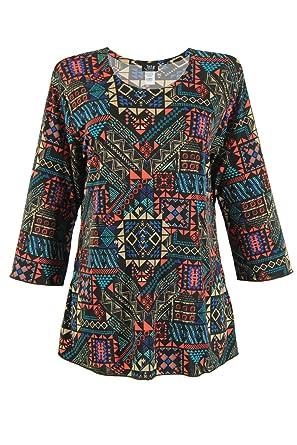 4231c22f64f Jostar Women s Stretchy Merrow Top 3 4 Sleeve Print Plus 2XL Multi Abstract