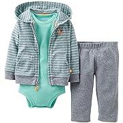 Carter's Baby Boys' 3 Piece Cardigan Set (Baby) - Heather/Green - Heather - 3 Months