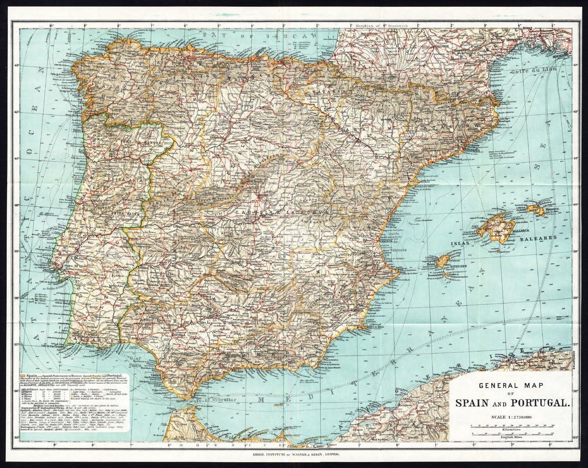 Antiguo ThePrintsCollector mapa de España-Portugal-Karl baedeker-1913: Amazon.es: Hogar