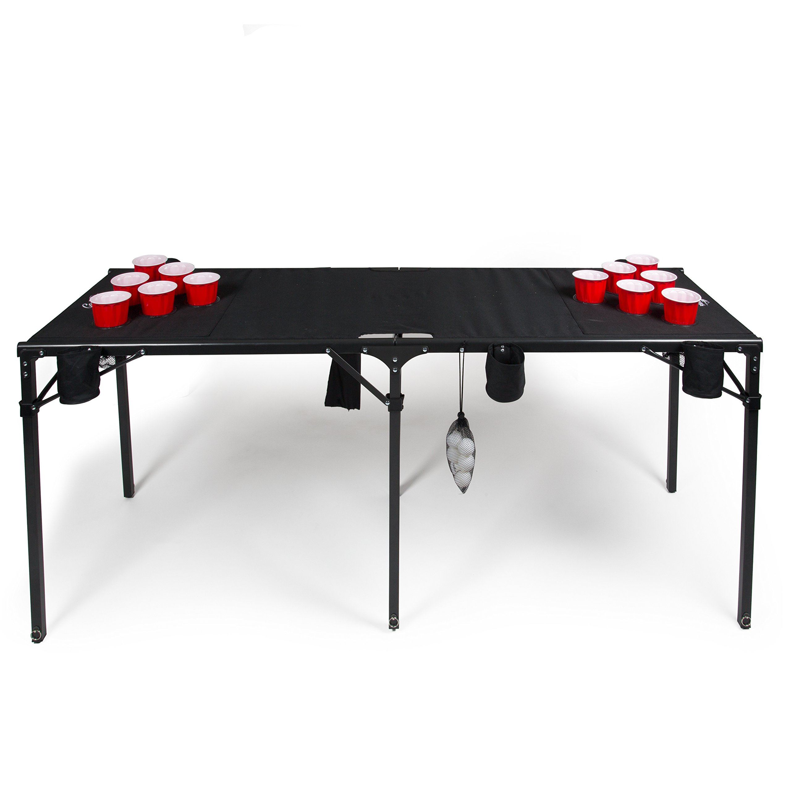 Camerons Portable Beer Pong Table- Collapsible Regulation Size Beirut Table w Cup Holders, 6 Balls, Stakes and Travel Bag by Camerons (Image #2)